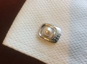 Vintage Sterling Silver and Cultured Pearl Cuff links and Tie Pin set - Japanese (SOLD)